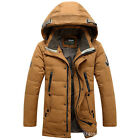 Men Winter Fur Collar padded Jacket Puffer Hooded Trench Parka outwear Down coat