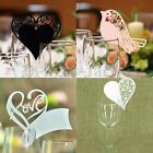 50Pcs Robin Love Heart Wedding Name Place Bied Pearlescent Cards For Wine Glass