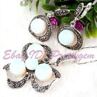 8.10mm Round White Opalite Marcasite Tibetan Silver Classical Pendant Earrring