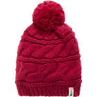 North Face Tri Cable Pom Womens Headwear Beanie Hat - Dramatic Plum One Size