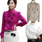 Korea Celebrity Winter Elegant Shirt Satin Blouse Party Womens Office Top Size