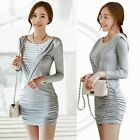 Striped 2- in-1 Faux Twinset Fitted Ruched Wrap Womens Hood Hoodie Dress Bodycon