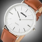 PACIFISTOR Mens Ladies Quartz Wrist Watch Luxury Analog Slim Nylon Black Leather