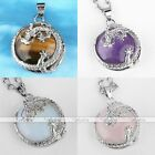 Round Gemstone Silver Dragon Natural Stone Beads Copper Pendant For Necklace