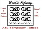 DOUBLE INFINITY temporary TATTOO X 12  Lg WRIST + FINGER  tattoos LAST 1WEEK +