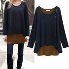 Womens Loose Asymmetry Hem Long Sleeve Blouse Tunic T-shirt Casual Tops