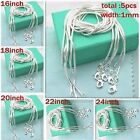 """Wholesale 5pcs 1mm Pure Silver Snake Chain Round Necklace 16""""-24"""" Jewelry"""