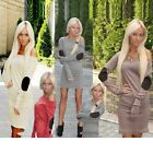 New Fashion Women Contrast Long Sleeve Drape BodyCon Casual Work Wear Mini Dress