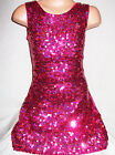 GIRLS 60s STYLE BRIGHT PINK SPARKLE HOLOGRAPHIC SEQUIN EVENING DANCE PARTY DRESS