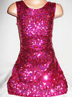 GIRLS 60s STYLE BRIGHT PINK SPARKLE HOLOGRAPHIC SEQUIN DISCO DANCE PARTY DRESS