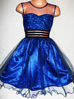 GIRLS ROYAL BLUE SEQUIN SATIN TULLE PRINCESS EVENING OCCASION PROM PARTY DRESS