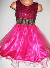 GIRLS BRIGHT PINK SPARKLY SEQUIN TULLE PRINCESS EVENING PROM PARTY GOWN DRESS