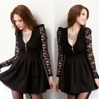 Chic V-neck Floral Lace Patchwork Zipper Front Pleats Women's Mini Dress Black