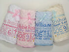 Personalised Baby Blanket Birth Block Luxury Embroidered Dimpled Satin Fleece