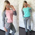 Womens 2Pcs Casual Sport Top Sweatshirt Track Pants Sweat Suit Tracksuit Fleeces