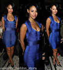 French Connection Blue Spotlight Ribbon Knits Bandage Bodycon Party Dress 10 38