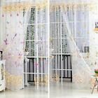 2pcs 1m*2.7m Sheer Voile Tulle Door Window Curtains Butterfly Pattern Drape MG2R
