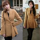 Tunic Women Overcoat Jackets Outwear Coats Double Layered Hem Lined Warm Buckle
