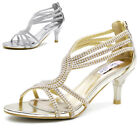 Womens diamante sandals mid heels sparkly evening wedding dress stilettos Shoes