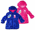Girl's Peppa Pig Hooded Puffa Style Padded Winter Coat Baby 12-30 Months New