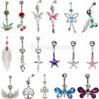 Hot Popular Navel Belly Ring Rhinestone Button Bar Barbell Body Piercing Jewelry