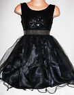 GIRLS BLACK GOTHIC SEQUIN SPARKLE TRIM TULLE PRINCESS PROM PARTY GOWN DRESS