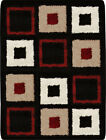 Contemporary Modern Shag Black Red Area Rug Squares Shaggy Floor Décor Carpet