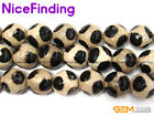 14mm Round Faceted White Black Fire Agate Stone Beads Lot For Jewelry Making 15""