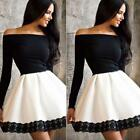 Sexy Women Off Shoulder Casual Lace Long Sleeve Party Patchwork Mini Dress UKSY