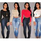 Women Long Sleeve Crop Top T shirt Sexy Party Evening Blouse Slim Zipper Tops Z