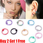Surgical Steel Hoop Ring Ball Closure Piercing Lip Ear Nose Eyebrow 8mm*0.8mm