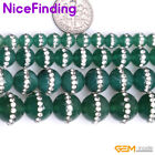 Round Rhinestones Green Agate Stone Beads For Jewelry Making 6mm 8mm 10mm 12mm
