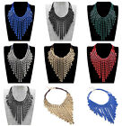New Multi-color Spray Paint Layered Tassel Pendant Statement Necklace New