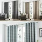 CURTINA® TARTAN LINED EYELET CURTAINS BRAEMAR CHECK DUCK EGG CHARCOAL NATURAL