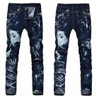 New Men Italy Style Stylish Girl Print Stretch blue Jean W 28-38 (#314)