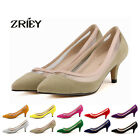 ZriEy Womens Crystal Kitten Mid Heels Pointed Saints Pumps Velvet Leather Shoes