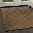 Modern Beige Cut Loop 3D Area Rug Contemporary Abstract Swirls Lines Carpet