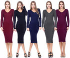 Sexy Women Winter Bandage Bodycon Party V Neck Long Dress Cocktail Sweater Dress