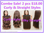 2 X PIECES 3/4 FULL HEAD CLIP-IN HAIR EXTENSION STRAIGHT AND CURLY STYLE