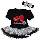 Baby First Valentine's Day Cupcake Black Silver Bodysuit Tutu Party Dress