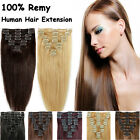 Real Clip in Remy Human Hair Extensions Weft Black Brown Blonde Soft Brand New