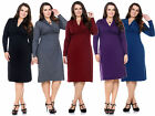 PLUS SIZE WOMENS KNEE LENGTH LONG SLEEVE WARM SWEATER MIDI DRESS XL-4X