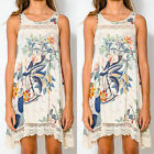 Summer Boho Womens Floral Mini Dress Long Vest Tank Top Beach Sundress UK 8-16
