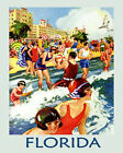 """Florida People at the Beach Ocean Sunshine State 16""""X20"""" Vintage Poster FREE SH"""