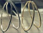 "LARGE PAVE CRYSTAL RHINESTONE 3"" THIN SILVER GOLD FULL HOOP STATEMENT EARRINGS"