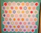 NILE GREEN ANTIQUE FLOWER GARDEN QUILT SMALL PIECES LARGE SIZE 30S FRESH CLEAN