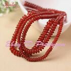 Rondelle Red Agate Onyx Gemstone Spacer Beads For DIY Jewelry Making Strand 15""