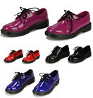 Ladies Women's Girl's Fashion Flat Patent Shoes Fashion Designer Laced Chunky