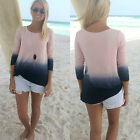 Womens Ladies Casual Long Sleeve Crew Neck T Shirt Loose Tops Blouse Size 8-14
