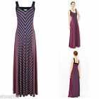 NEW MONSOON MARIAH MAXI DRESS NAVY BLUE PINK STRIPED SUMMER SZ 10 - 18